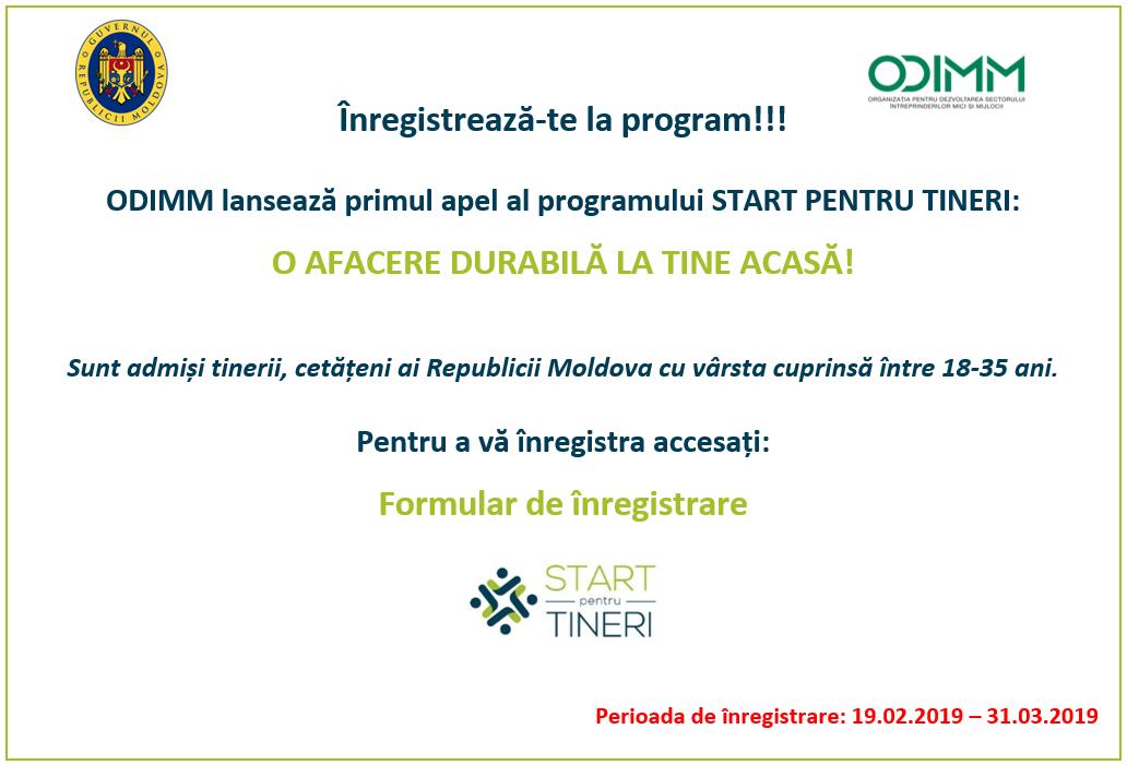 """Programul """"START pentru TINERI: o afacere durabilă la tine acasă"""""""