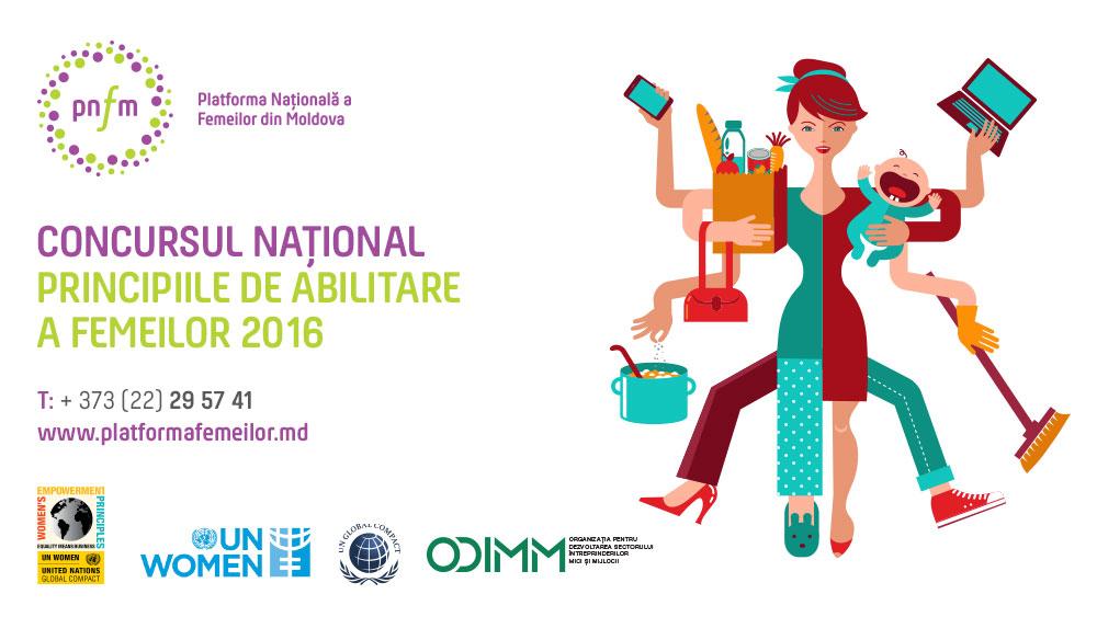 """Platforma Națională a Femeilor din Republica Moldova în parteneriat cu UN Women și Pactul Global ONU, lansează concursul anual """"Principiile de Abilitare a Femeilor"""""""